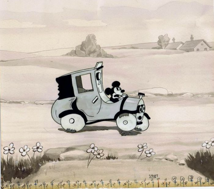 "This is the actual production cel of Mickey Mouse in ""Traffic Troubles"", which was released on March 7, 1931. The background is an actual production background of another Mickey Mouse cartoon called ""The Picnic"" and was released on November 14, 1930."